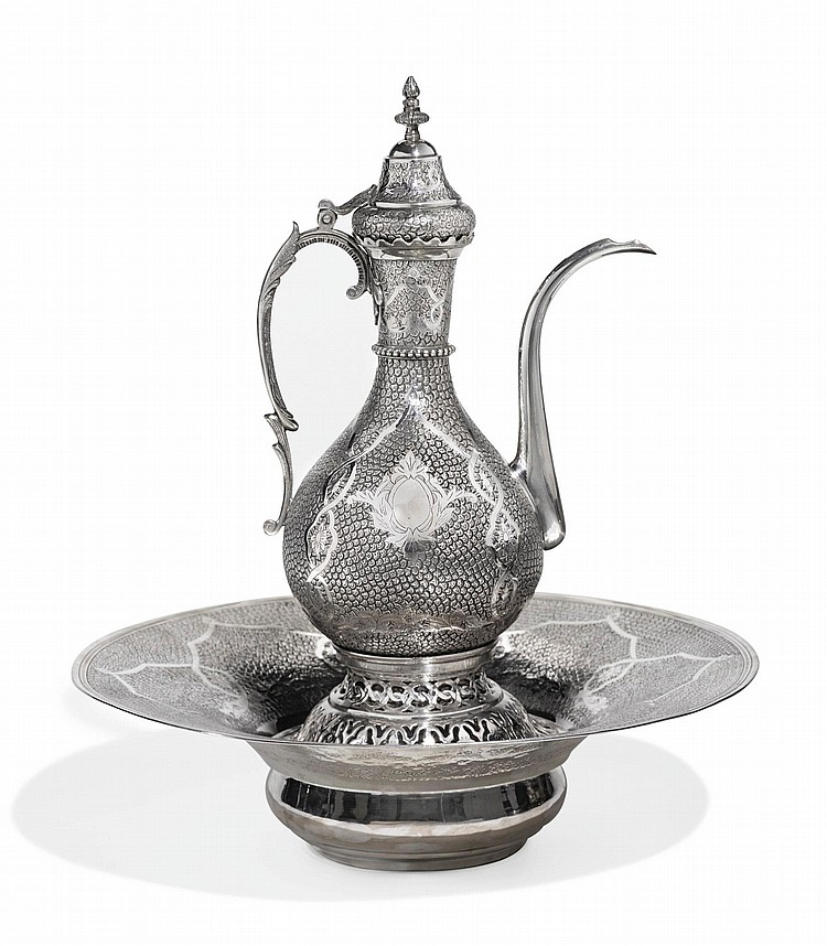 A LARGE OTTOMAN SILVER EWER AND BASIN WITH TUGHRA OF ABDÜLHAMID II (R.1876-1909), TURKEY, CIRCA 19TH CENTURY |