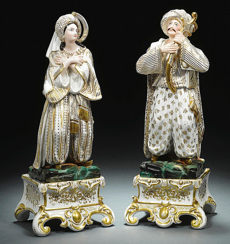 A PAIR OF PORCELAIN DE PARIS FIGURINES, A SULTAN AND SULTANA, FRANCE, 19TH CENTURY |