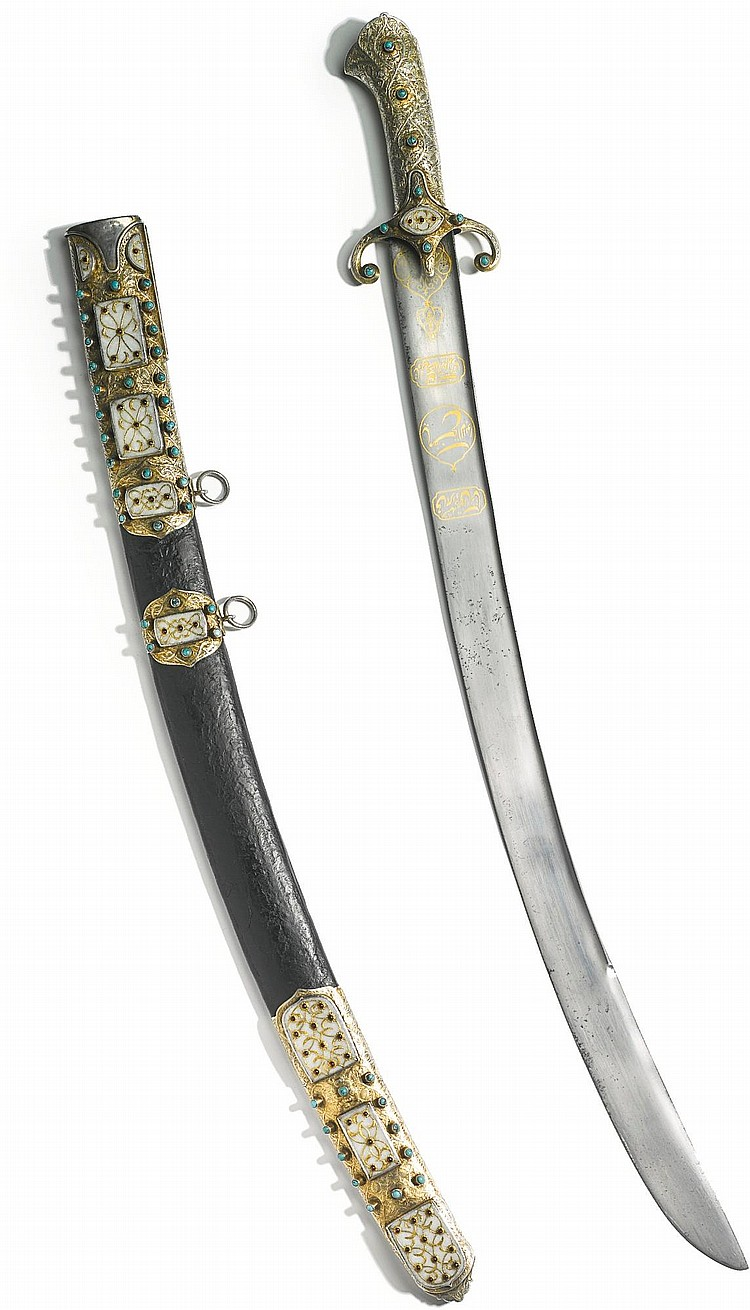 AN OTTOMAN SABRE (KARABELA) WITH SILVER-GILT MOUNTS SET WITH TURQUOISE AND GOLD-INLAID JADE PANELS, TURKEY, SECOND HALF 17TH CENTURY |