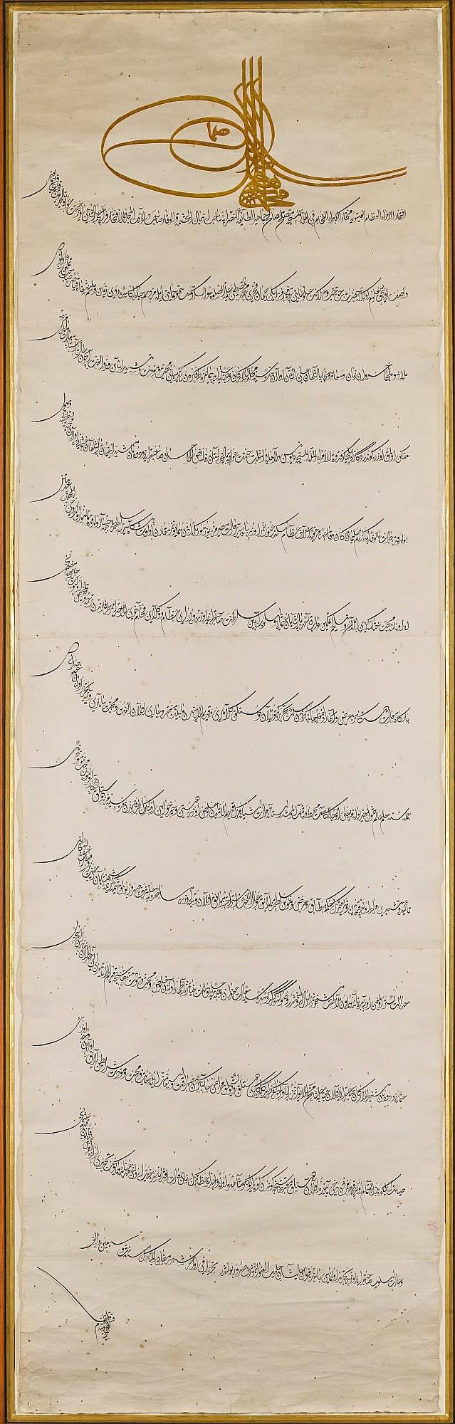 A LARGE ILLUMINATED FIRMAN BEARING THE TUGHRA OF SULTAN MEHMED IV (R.1648-87), TURKEY, OTTOMAN, ISTANBUL, DATED 1076 AH/1666 AD |