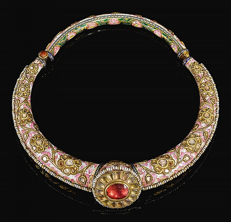 AN ENAMELLED AND GEM-SET TORQUE (HASLI), NORTH INDIA, 19TH CENTURY |