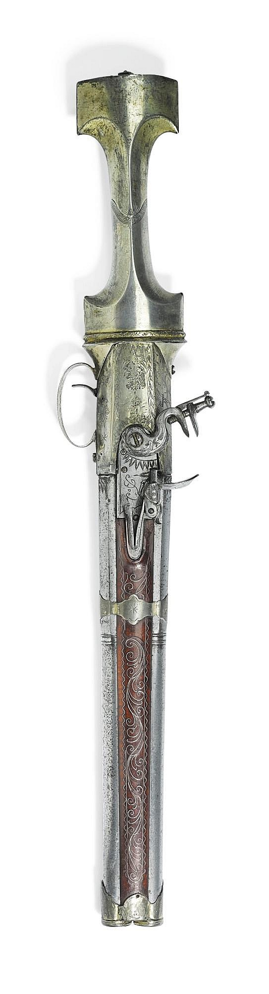 A RARE OTTOMAN DOUBLE-BARRELLED FLINTLOCK PISTOL WITH CONCEALED DAGGER, TURKEY, 19TH CENTURY |