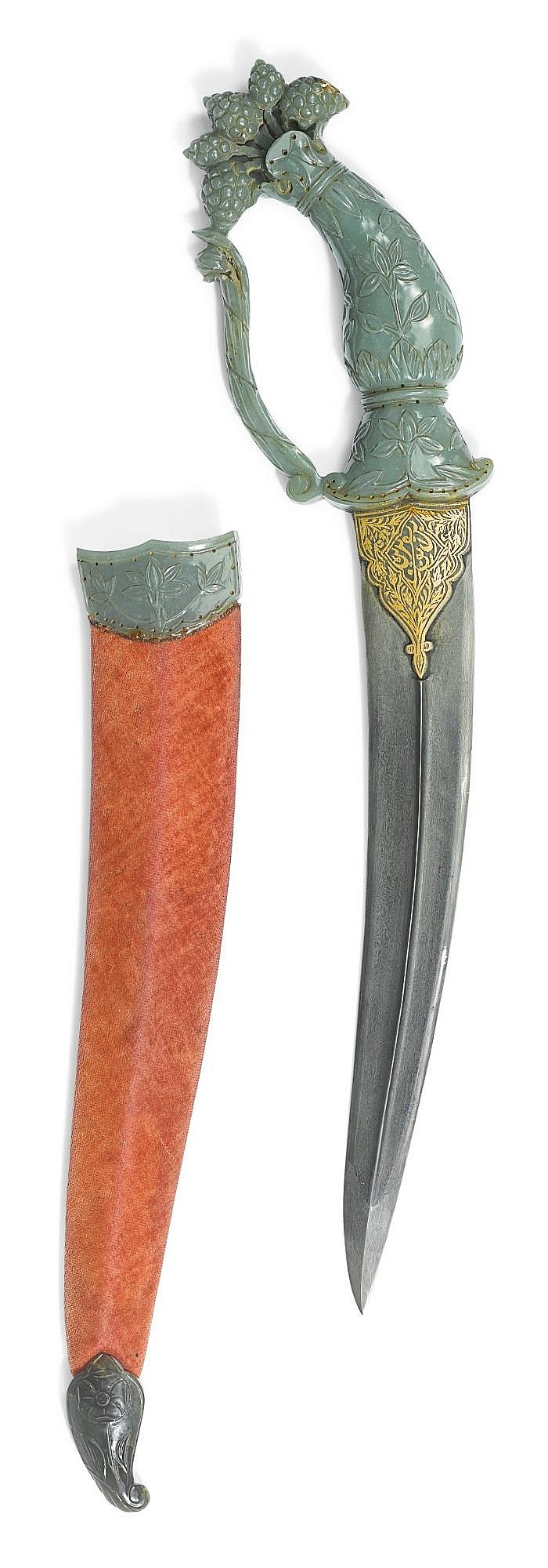 A MUGHAL JADE-HILTED DAGGER (KHANJAR) WITH SCABBARD, INDIA, 18TH CENTURY |