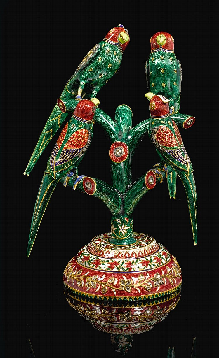FOUR GOLD AND POLYCHROME ENAMELLED PARROTS PERCHED ON A BRANCH, NORTH INDIA, 19TH CENTURY |