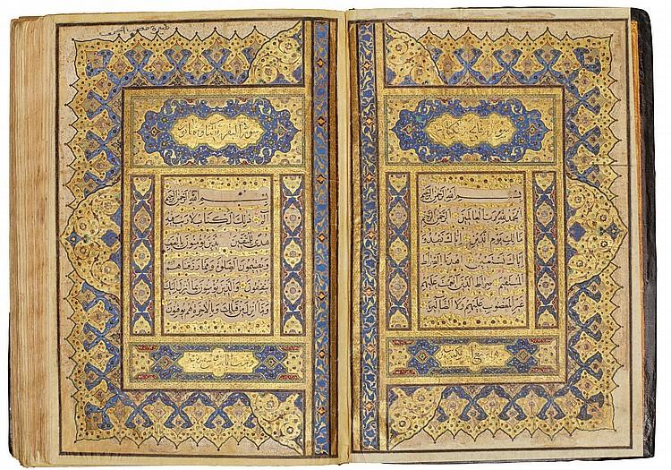 A LARGE ILLUMINATED QUR'AN, COPIED BY MUHAMMAD REZA IBN MUHAMMAD TAQI AL-TABRIZI, DEDICATED TO SAMSAM AL-DAULAH KHAN-E DAURAN, INDIA, MUGHAL, DATED 1145 AH/1732-33 AD |