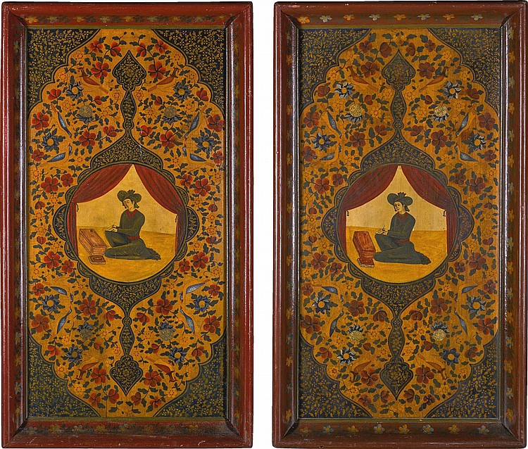 A PAIR OF QAJAR WEDDING TRAYS, PERSIA, 19TH CENTURY |