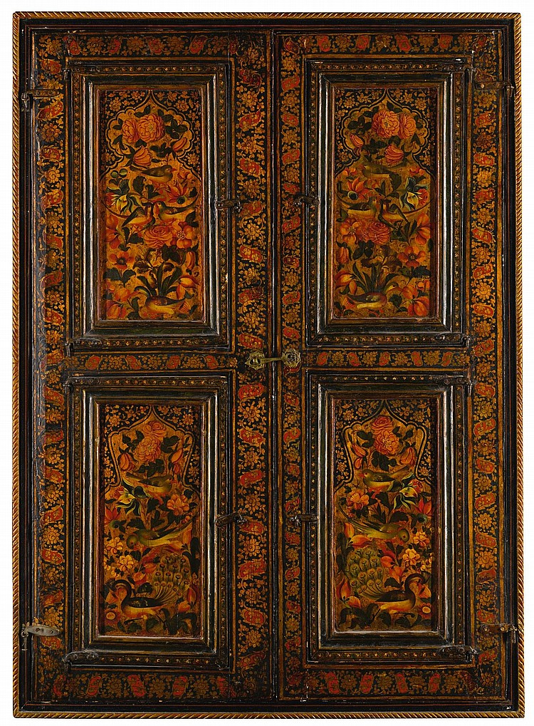 A QAJAR LACQUERED AND MIRRORED WINDOW FRAME, PERSIA, 19TH CENTURY |