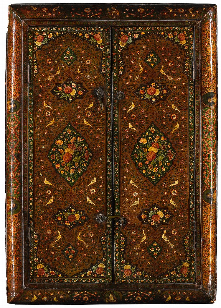 A LARGE QAJAR LACQUERED WOOD MIRROR, PERSIA, SIGNED AND DATED 1260 AH/1844-5 AD |