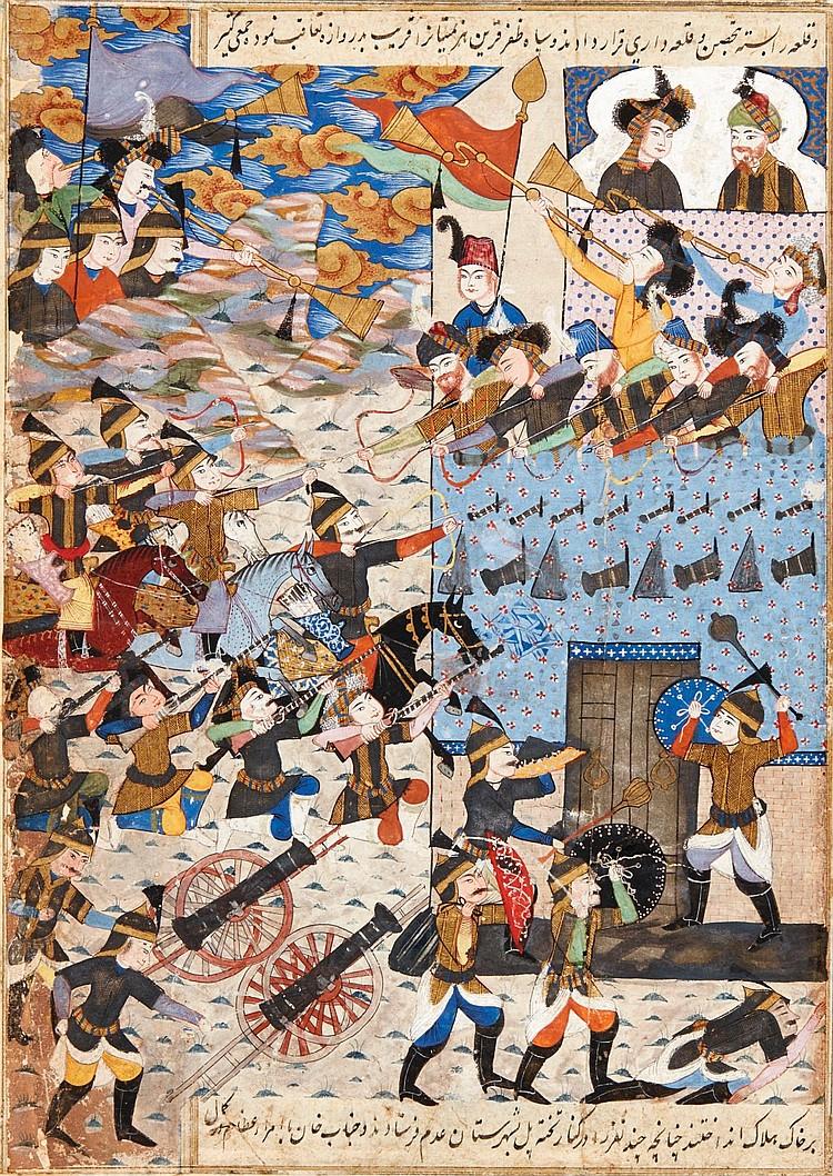 AN ILLUSTRATED AND ILLUMINATED LEAFFROM THE TARIKH-I 'ALAM-ARA-YI ABBASI OF ISKANDER BAYG MUNSHI:THECAPTURE OF YEREVAN CITADEL, PERSIA,ISFAHAN, CIRCA 1650 |
