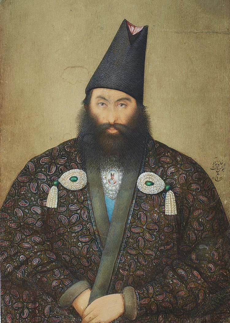A PORTRAIT OF A MAN, SIGNED BY YAHYA GHAFFARI, PERSIA, QAJAR, DATED 1294 AH/1877 AD |
