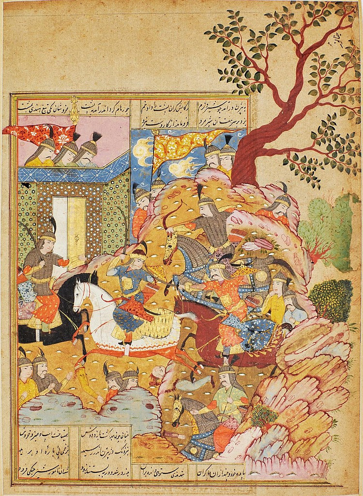 AN ILLUSTRATED AND ILLUMINATED LEAF FROM A MANUSCRIPT OF FIRDAUSI'S SHAHNAMEH: ROHHAM FATALLY WOUNDS FORUD, SON OF SIYAVUSH, PERSIA, SAFAVID, MID-17TH CENTURY |