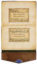ABU 'ABDULLAH MUHAMMAD AL-BUSIRI, QASIDA AL-BURDA, WITHCALLIGRAPHIC MUFRADAT, SIGNED BY BY HUSAYN AL-FAKHKHAR AL-SHIRAZI, PERSIA, SAFAVID, DATED 970 AH/1562-63 AD |