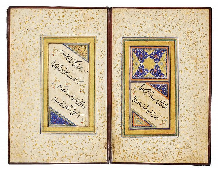 AN ILLUMINATED CALLIGRAPHIC MURAQQA' OF POETRY, PERSIA, SAFAVID, 16TH/17TH CENTURY |