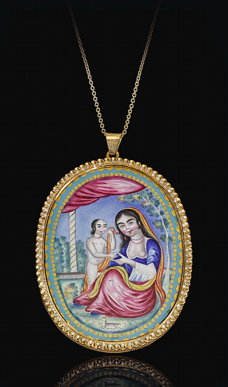 A QAJAR GOLD, ENAMELLED AND JEWELLED PORTRAIT MEDALLION OF THE MADONNA AND CHILD, PERSIA, 19TH CENTURY |