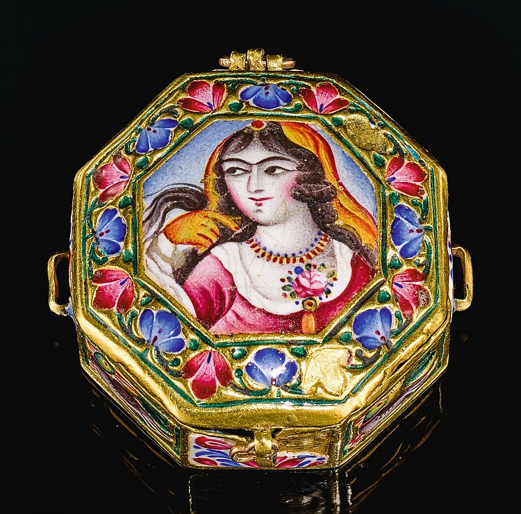A QAJAR OCTAGONAL GOLD AND ENAMELLED BOX, PERSIA, 19TH CENTURY |