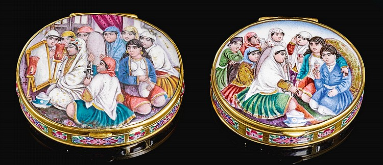 TWO QAJAR GOLD AND ENAMELLED PILL BOXES WITH FIGURAL SCENES, PERSIA, 19TH CENTURY |