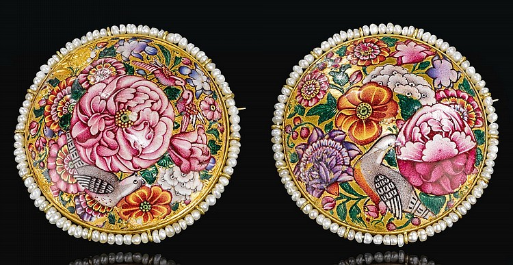 A PAIR OF QAJAR GOLD AND ENAMELLED BROOCHES WITH SEED-PEARL FRINGES, PERSIA, 19TH CENTURY |