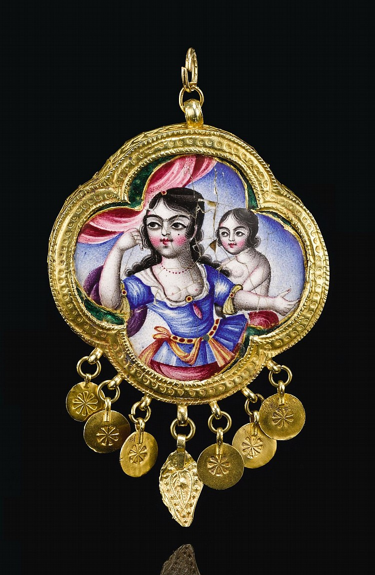 A QAJAR GOLD AND ENAMELLED PENDANT FEATURING A MOTHER AND CHILD, PERSIA, 19TH CENTURY |