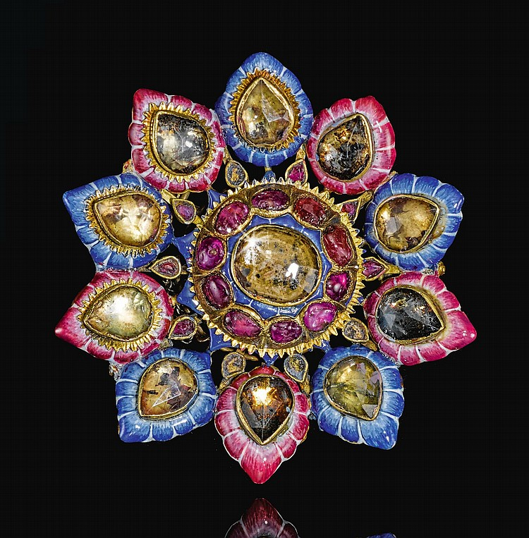 A LARGE QAJAR GOLD, ENAMELLED AND JEWELLED BROOCH, PERSIA, 19TH CENTURY |