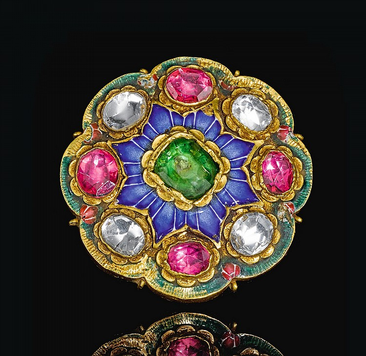 A QAJAR GOLD AND ENAMELLED BROOCH OR HAIR ORNAMENT, PERSIA, 19TH CENTURY |