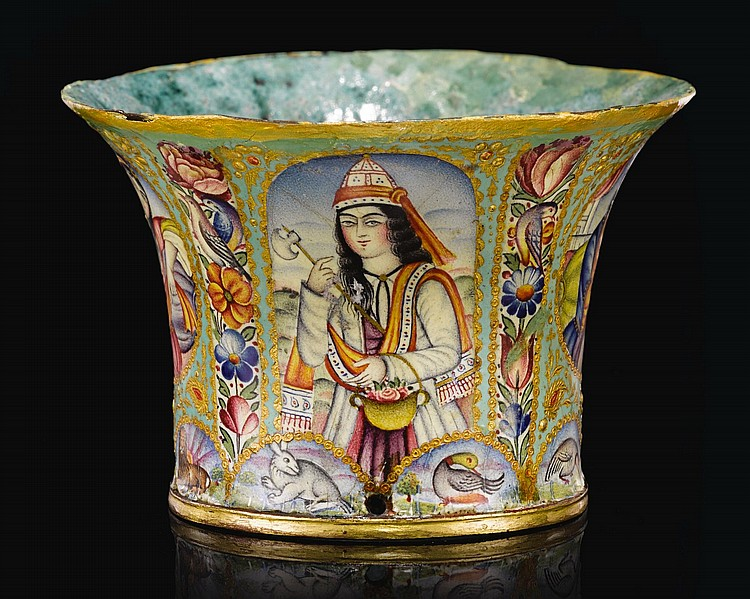 A FINE QAJAR GOLD AND POLYCHROME ENAMELLED GHALIAN CUP, PERSIA, 19TH CENTURY |