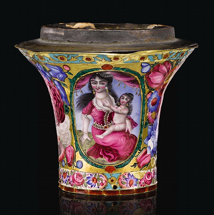 A QAJAR GOLD AND ENAMELLED GHALIAN CUP, PERSIA, 19TH CENTURY |
