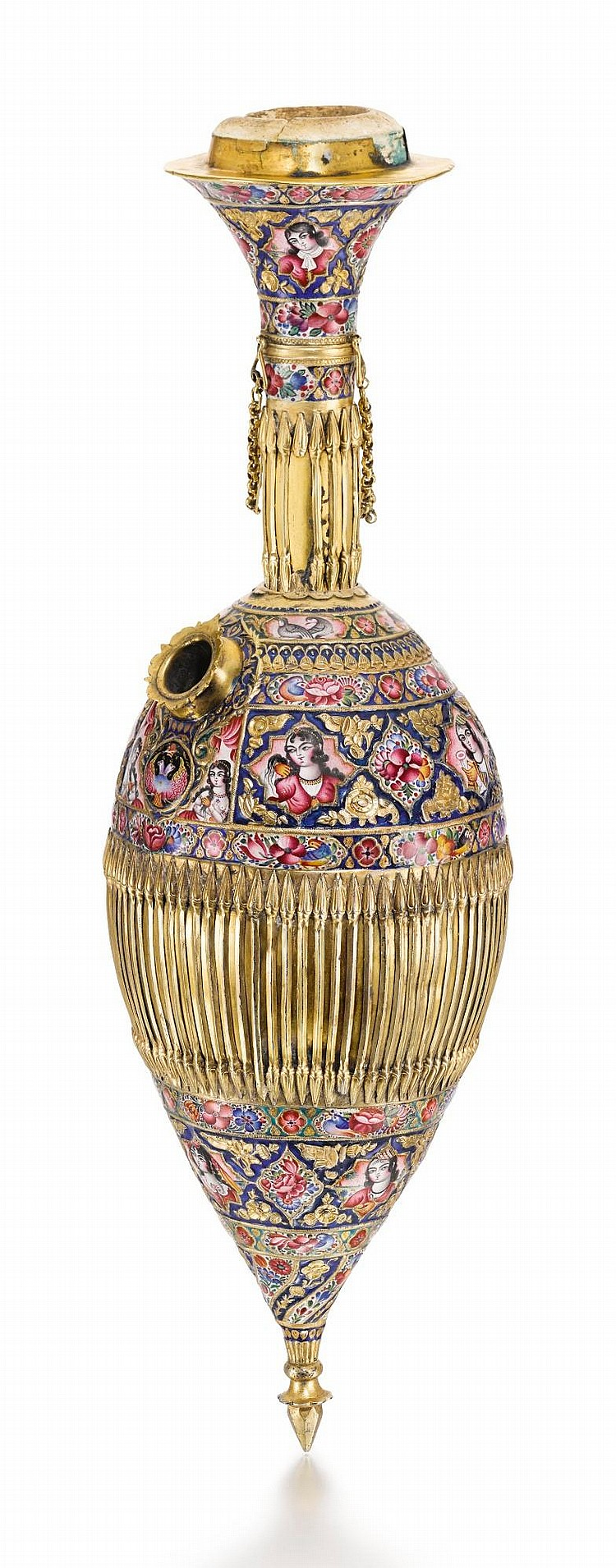 A LARGE QAJAR GOLD AND ENAMELLED GHALIAN BOTTLE SECTION AND CUP, PERSIA, 19TH CENTURY |