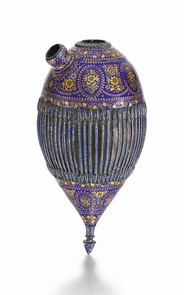 A LARGE QAJAR BLUE MARVERED ENAMELLED GHALIAN BOTTLE SECTION, PERSIA, 19TH CENTURY |