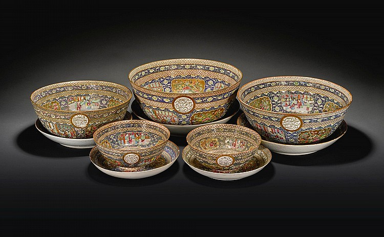 FIVE LARGE PORCELAIN BOWLS AND DISHES WITH 'ROSE CANTON' DECORATION FROM A SERVICE MADE FOR MAS'UD MIRZA ZILL AL-SULTAN, CANTON AND PERSIA, DATED 1297 AH/1879-80 AD |