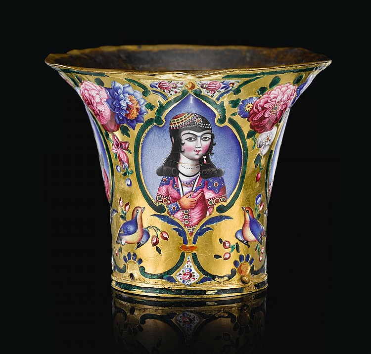 A QAJAR GOLD AND ENAMELLED GHALIAN CUP WITH FIGURES OF YOUTHS, PERSIA, 19TH CENTURY |
