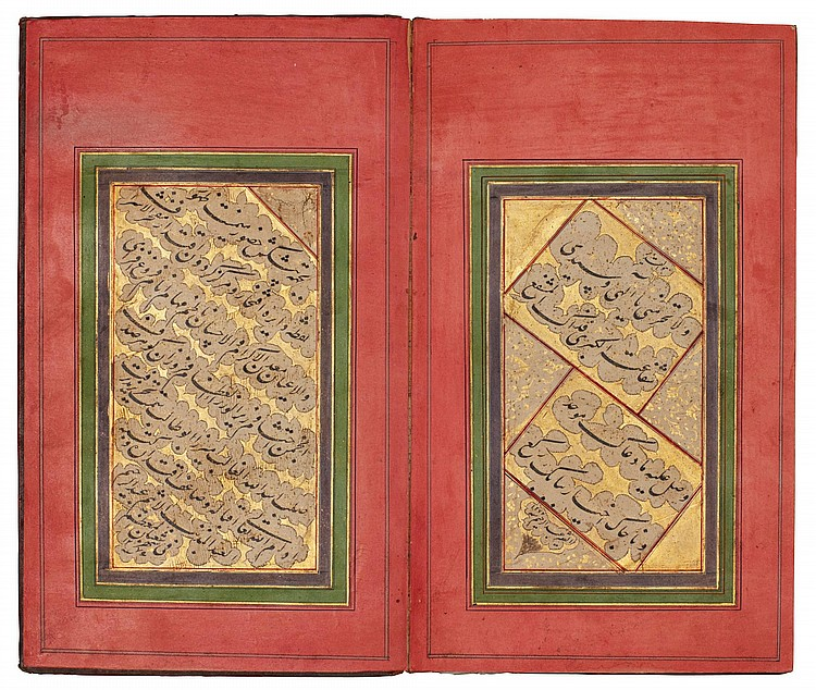 A CONCERTINA ALBUM OF CALLIGRAPHY, SIGNED BY ABD AL-RAHIM, PERSIA, QAJAR, DATED 1276 AH/1860 AD |