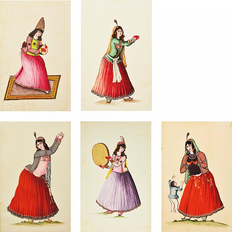 FIVE WATERCOLOURS OF QAJAR MAIDENS, PERSIA, QAJAR, 19TH CENTURY |