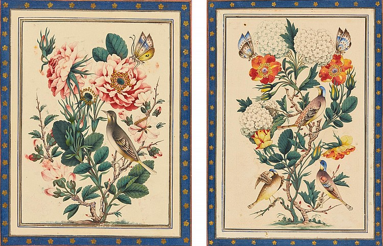 TWO GOL-E-BUL-BUL PAINTINGS, ATTRIBUTABLE TO AGHA LOTF 'ALI SOURATGAR-E SHIRAZI, PERSIA, QAJAR, 19TH CENTURY |