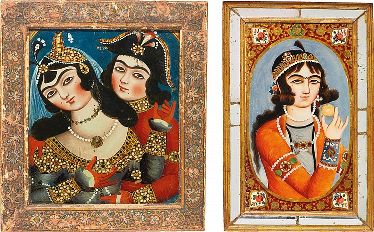TWO REVERSE GLASS PAINTINGS: A PERSIAN MAIDEN AND AN OFFICER WITH A PERSIAN MAIDEN, PERSIA, QAJAR, 19TH CENTURY |