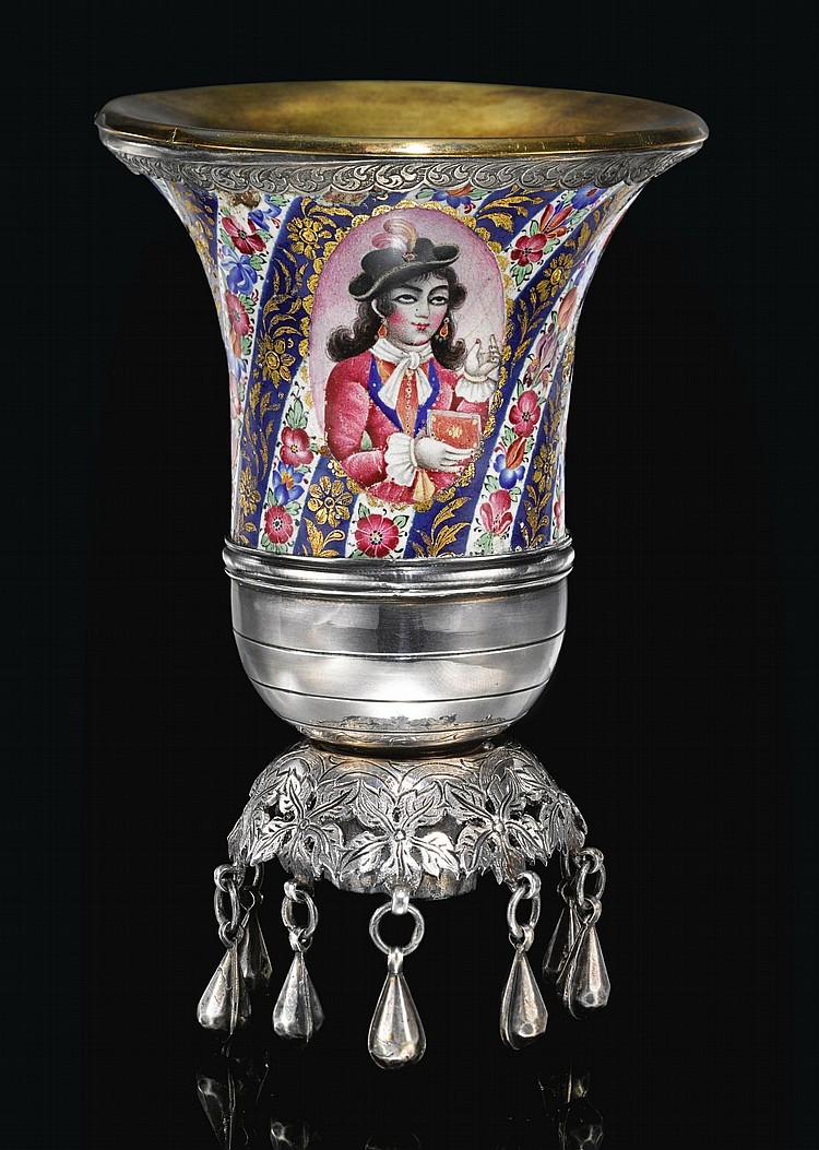 A QAJAR ENAMELLED AND SILVER GHALIAN CUP, PERSIA, 19TH CENTURY |