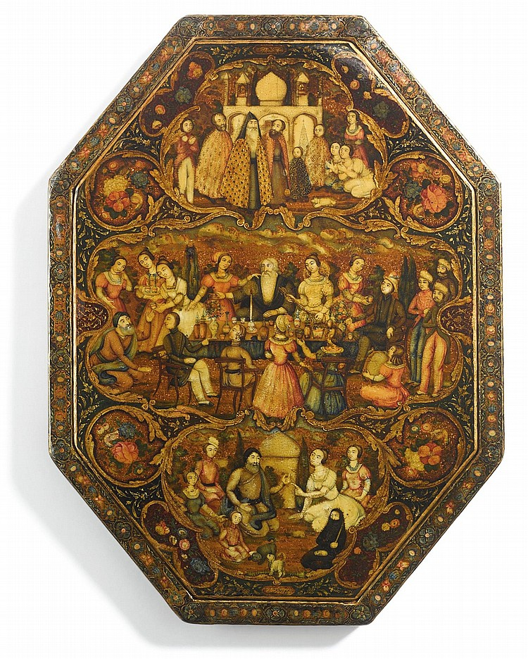 A LARGE OCTAGONAL LACQUER MIRROR CASE, SIGNED BY MUHAMMAD ISMA'IL, PERSIA, QAJAR, SECOND HALF 19TH CENTURY |