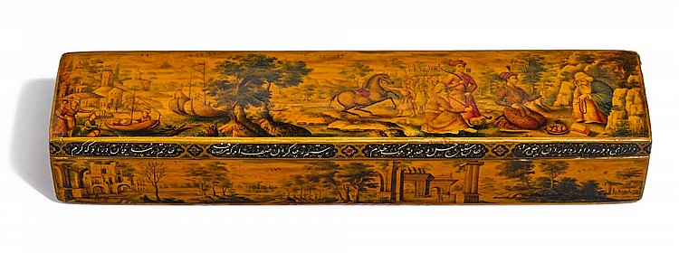 A LARGE RECTANGULAR LACQUER PEN CASE, SIGNED BY MUHAMMAD BAQIR, PERSIA, ZAND, DATED 1197 AH/1782 AD |