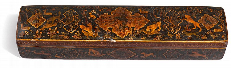 A LARGE LACQUER RECTANGULAR PEN CASE, PERSIA, SAFAVID, CIRCA 17TH/18TH CENTURY |