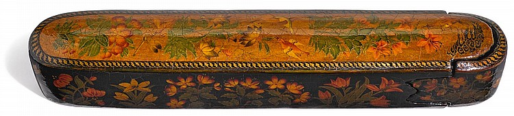A LACQUER PEN CASE, ASCRIBED TO MUHAMMAD ZAMAN, PERSIA, DATED 1089 AH/1678-79 AD |