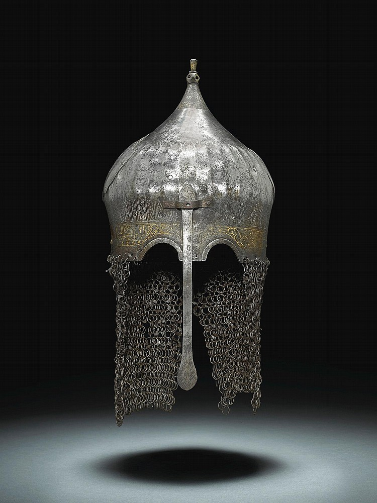 A RARE AND IMPORTANT AQQOYUNLU STEEL TURBAN HELMET, TURKEY OR PERSIA, SECOND HALF 15TH CENTURY |