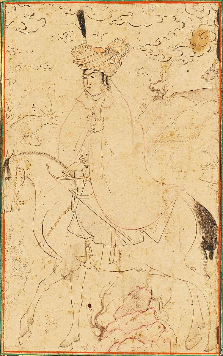 A MOUNTED HUNTER, ATTRIBUTABLE TO REZA-I 'ABBASI, PERSIA, SAFAVID, LATE 16TH CENTURY |