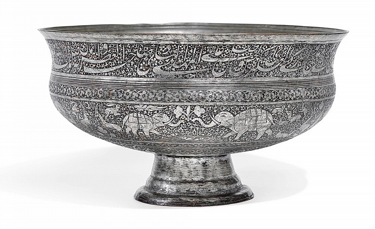 A MONUMENTAL TINNED-COPPER BOWL, PERSIA, DATED 1134 AH/1720-21 AD |