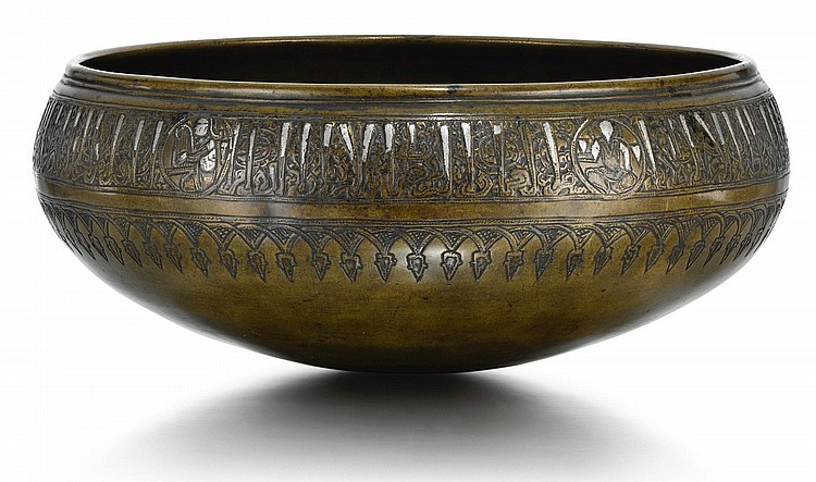 A SILVER-INLAID BRASS BOWL, SYRIA, DAMASCUS, MID-13TH CENTURY |