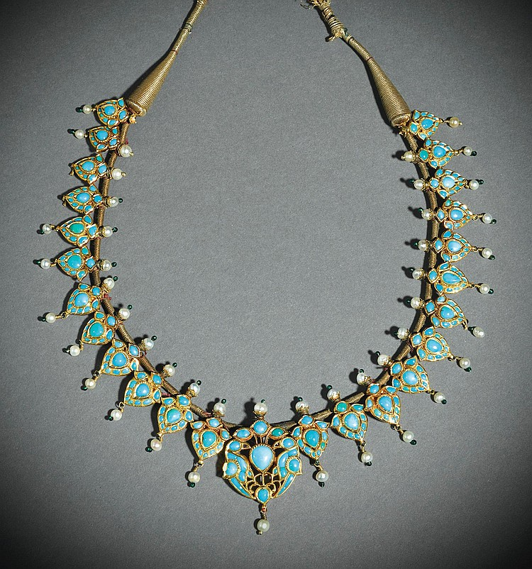 A TURQUOISE-SET AND ENAMELLED GOLD NECKLACE, NORTH INDIA, 19TH CENTURY, |