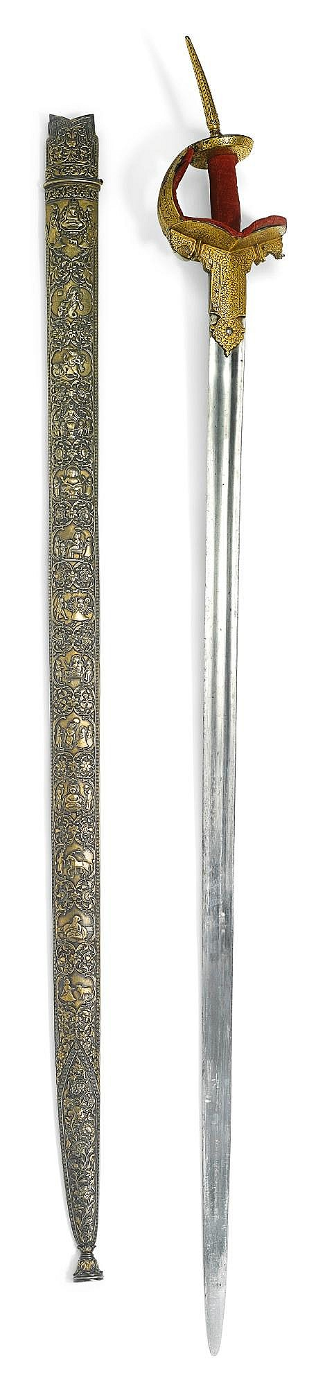AN INDIAN SWORD (FIRANGI) WITH EUROPEAN STEEL BLADE, 17TH/18TH CENTURY, WITH A FINE SCABBARD SIGNED BY RAM DAKHS SANWAT, INDIA, ALWAR, RAJASTHAN, DATED 1856 |