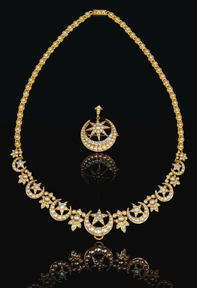 AN OTTOMAN SEED-PEARL AND DIAMOND NECKLACE WITH PENDANT (BROOCH), LONDON FOR THE TURKISH MARKET, CIRCA 1900 |