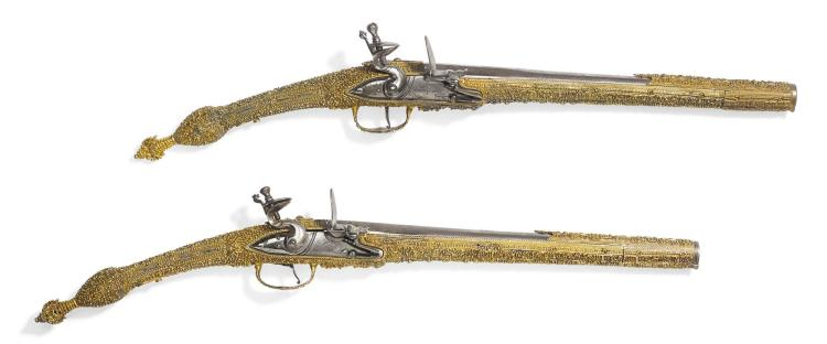 A FINE PAIR OF OTTOMAN FLINTLOCK SILVER-GILT EPIROT PISTOLS, OTTOMAN PROVINCES, 19TH CENTURY |