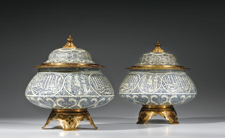 A PAIR OF LIDDED FLOWERPOT HOLDERS ON STANDS, PROBABLY 'THÉODORE DECK', PARIS, CIRCA 1880, |