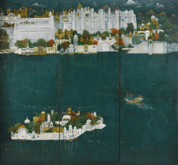 A MONUMENTAL PAINTED THREE-PANEL SCREEN DEPICTING THE CITY PALACE AT UDAIPUR AND LAKE PICHOLA, INDIA, 19TH CENTURY |