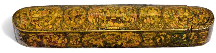 A LACQUER PEN CASE, SIGNED BY HAYDAR 'ALI NAQQASH-BASHI, SON OF MUHAMMAD ISMA'IL, PERSIA, QAJAR, SECOND HALF 19TH CENTURY |